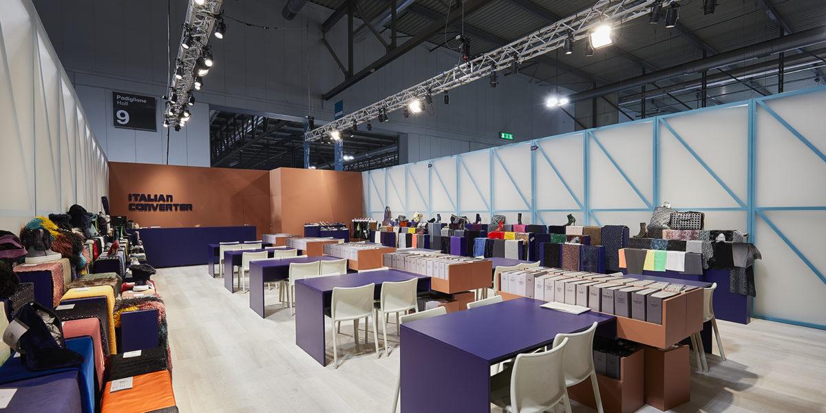 interno dello stand di Italian Converter a Linea Pelle Milano 2018