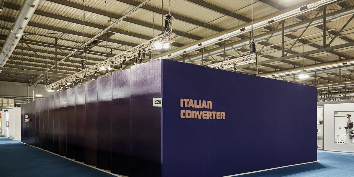 esterno stand Italian Converter per la fiera Linea Pelle Milano 2018