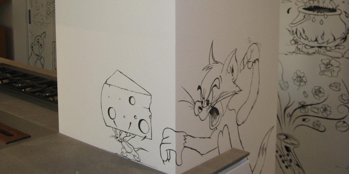 dettaglio muro cucina disegnato