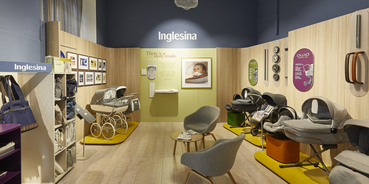 dettaglio arredamento negozio di Inglesina a Milano