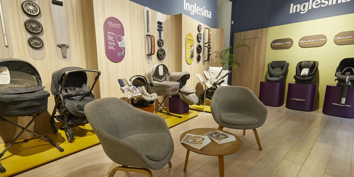 design interni per il negozio Inglesina a Milano